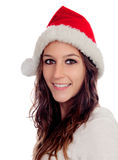 Attractive casual girl with Christmas hat Stock Images
