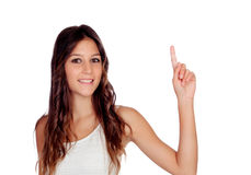 Attractive casual girl in green asking to speak Stock Photos
