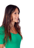 Attractive casual girl in green looking at the side Stock Photo