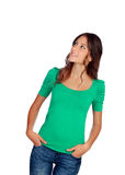 Attractive casual girl in green looking at the side Stock Images
