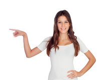 Attractive casual girl indicating at side Royalty Free Stock Photography