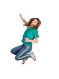 Attractive casual girl jumping Royalty Free Stock Photo
