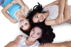 Attractive casual girls taking self portrait Royalty Free Stock Photo