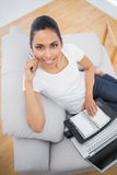 Attractive casual woman holding her diary and notebook Stock Photos