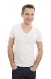 Attractive Casual young man - isolated on white Stock Photography