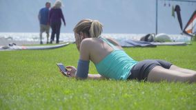 Woman On the Lawn stock footage
