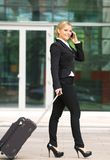 Attractive caucasian business woman talking on mobile phone Stock Photos