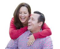 Attractive Caucasian Couple Laughing Isolated on White Royalty Free Stock Images