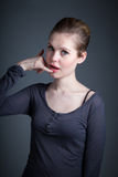 Attractive caucasian girl in her 30 shot in studio Royalty Free Stock Images