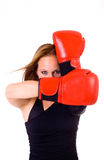 Attractive Caucasian girl practicing boxing Royalty Free Stock Photography