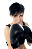 Attractive caucasian girl practicing boxing Stock Image