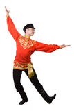 Attractive caucasian guy dancing in folk costume Royalty Free Stock Photography