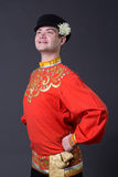 Attractive caucasian guy wearing a  folk costume Royalty Free Stock Images