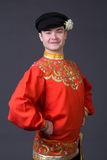 Attractive caucasian guy wearing a russian folk costume Stock Images