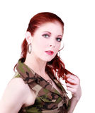 Attractive Caucasian Red Head Woman Camouflage Top Stock Image