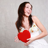 Attractive caucasian smiling woman brunette isolated on white st Royalty Free Stock Photo