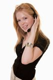 Attractive caucasian telecommunications worker royalty free stock images