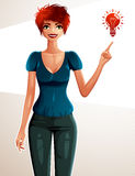 Attractive Caucasian woman full body portrait. Young red-haired female Royalty Free Stock Photo