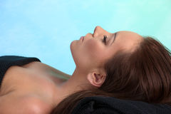 Attractive caucasian woman laying at the spa Royalty Free Stock Photo