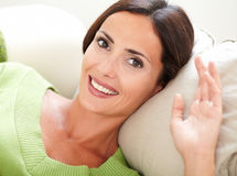 Attractive caucasian woman smiling at the camera Royalty Free Stock Images