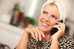 Attractive Caucasian Woman Talking on Cell Phone Royalty Free Stock Photo
