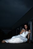 Attractive caucasian woman wearing bridal dress Royalty Free Stock Photo