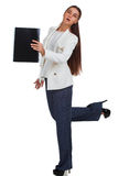 Attractive cheerful businesswoman with folder Royalty Free Stock Photos