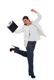 Attractive cheerful businesswoman with folder Stock Photos