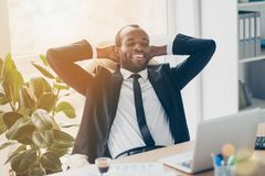 Attractive, cheerful, successful, stylish lawyer enjoying break royalty free stock images