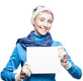 Attractive cheerful woman holding sign Royalty Free Stock Photo