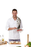 Attractive chef caucasian male, tasty rostbief Stock Photo