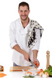 Attractive chef caucasian male, tenderloin piece Royalty Free Stock Image