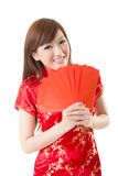 Red envelope Chinese woman Stock Photography