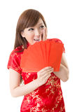 Red envelope Chinese woman Royalty Free Stock Photo