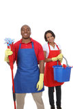 Attractive Cleaning Man and Woman Royalty Free Stock Images