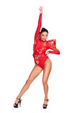 Attractive club dancer in red costume isolated Royalty Free Stock Photos