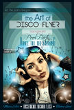 Attractive Club Disco Flyer with a Girl Dj listening to music Stock Photo