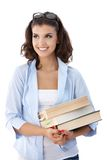 Attractive college student with books Stock Photos