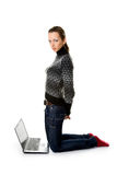 Attractive college student with laptop compute. R on white royalty free stock photos