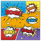 Attractive comic sound effect set Stock Photos
