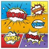 Attractive comic sound effect set Stock Photos