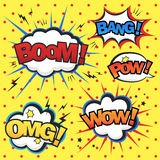 Attractive comic sound effect set Royalty Free Stock Images