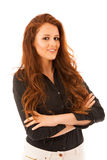 Attractive confident business woman with brown hair standing iso Stock Photos