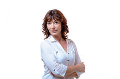 Attractive confident middle-aged woman royalty free stock image