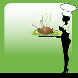 Attractive cook serving chicken. Colorful illustration with attractive woman dressed as a cook, serving roasted chicken on a huge plate decorated with green Royalty Free Stock Image