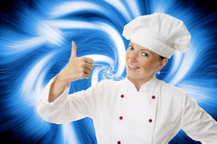 Attractive cook woman. A over abstract background stock image
