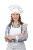 Attractive cook woman. Isolated on white background stock photo