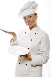 Attractive cook woman with dishes royalty free stock photos