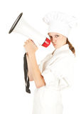 Attractive cook woman with megaphone Stock Photo