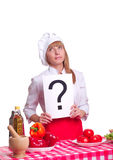 Attractive cook woman a over white background Stock Image